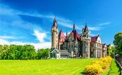 Fairytale castle garden entrance fantasy park landscape. Castle garden panorama