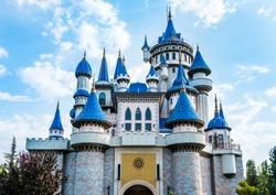 Fairytale Castle in Sazova Park (Science Art and Culture Park) in Eskisehir, Turkey.
