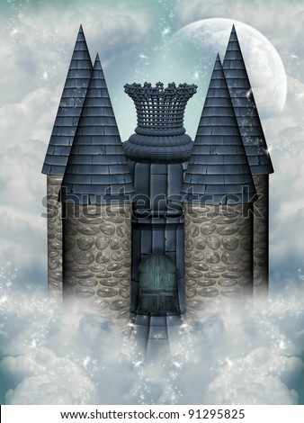 fairytale castle in the sky with moon