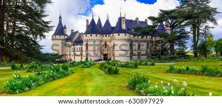 Fairytale Chaumont-sur -Loire castle. Loire valley, France