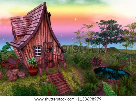 Fairytale colorful house surrounded by trees and flowers. 3D Illustration.