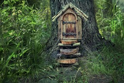 fairytale forest house. Little rustic wooden fairy door in tree trunk. pixie or elf home in forest. eco-home.