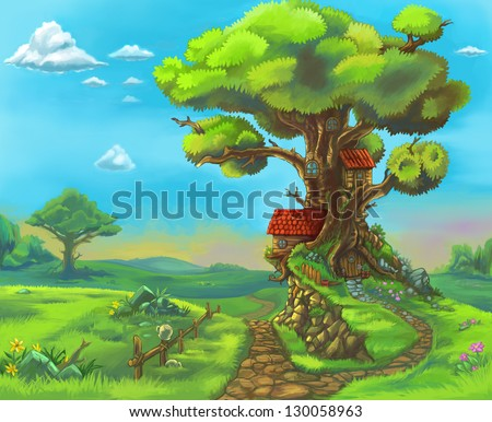 Fairytale forrest wood children story illustration Big tree with many branches blue sky sunny weather sprig summer season Nature landscape