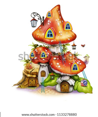 Fairytale mushroom house with doors, windows and steps and lanterns, dwelling fairies and bugs, forest fantasy, isolated image on a white background