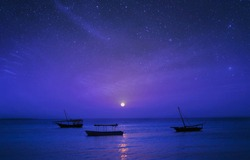 Fairytale night landscape Africa, Tanzania, Zanzibar. Silhouette of fishing boats on background of the starry sky in the ocean