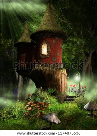 Fairytale scene with small castle on green meadow. 3D illustration.
