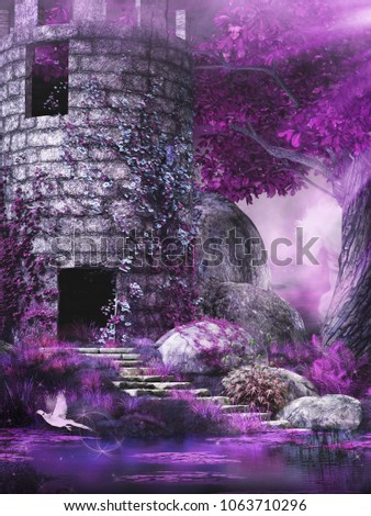 Fairytale scene with tower,pond and tree. 3D illustration.