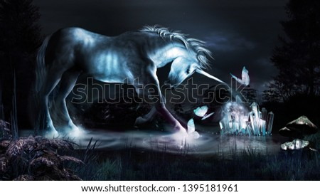 Fairytale scene with unicorn, blue crystals and butterflies. 3D illustration.