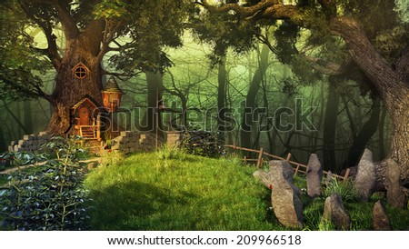 Fairytale scenery with old trees plants and fairy house