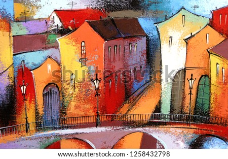 Fairytale town in orange color. Photo of acrylic and oil painting on canvas, my own artwork.