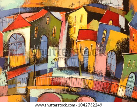 Fairytale town #4.  Photo of acrylic painting on canvas, my own artwork.