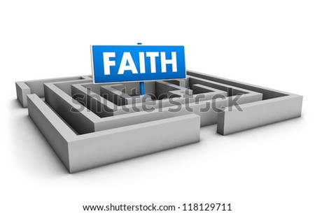 Faith concept with labyrinth and blue goal sign on white background.
