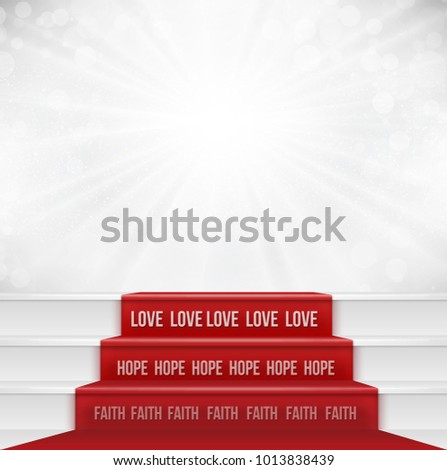 Faith Hope Love concept from bible quotation represent by steps showing the greatest of all is love. Negative space can be use to put text or wording.