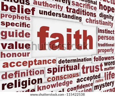 Faith message background. Religion poster conceptual design