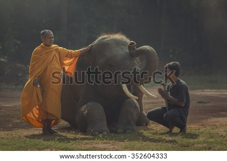 Faith of buddhism.Expression of elephants and elephant mahout. Gui is a way of life in Surin.