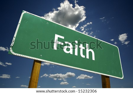 Faith Road Sign with dramatic clouds and sky.