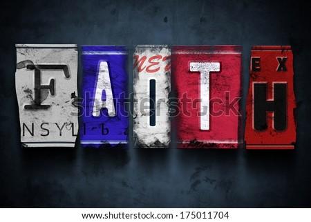 faith word on vintage broken...