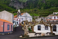 Fajazinha village center and cathedral on Flores in Azores islands of Portugal