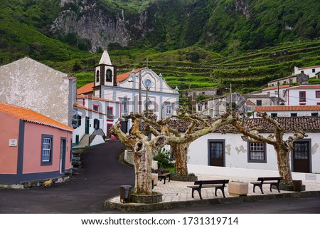 Fajazinha village center and cathedral on Flores in Azores islands of Portugal  Photo stock ©