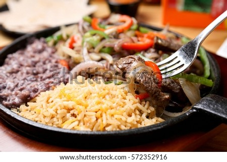 Fajita with delicious sauce and fresh ingredients #572352916