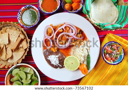 fajitas mexican food with rice frijoles chili sauce and nachos