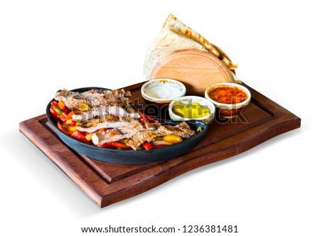Fajitas with Meat, Sauces and Lavash, White Background, with clipping path included (TR: Etli Fajita, Soslar ve Lavas ile ) Stok fotoğraf ©