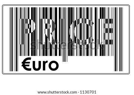 """Fake Bar Code with text """"PRICE + €uro"""" and space to insert price #13"""