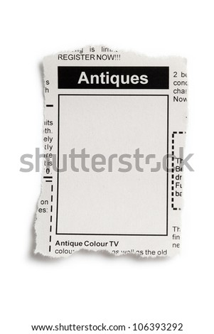 Fake Classified Ad, newspaper, Antiques Sale concept.