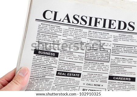Fake Classified Ad, newspaper, business concept.