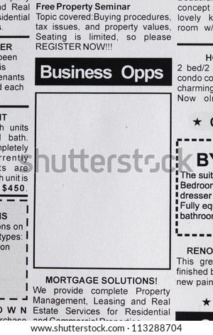 Fake Classified Ad, newspaper, business opportunity concept.