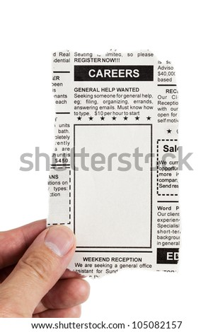 Fake Classified Ad, newspaper, Career concept.