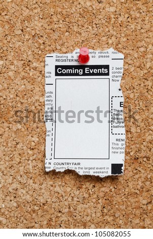 Fake Classified Ad, newspaper, Coming Events concept.
