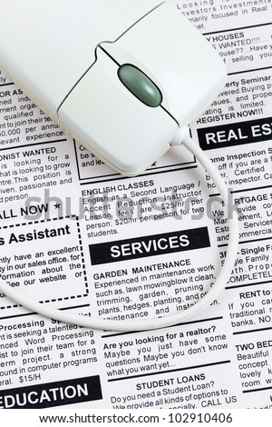 Fake Classified Ad, newspaper,Services concept.