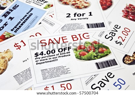 Fake coupon background.  All coupons were created by the photographer.  Images in the coupons are the photographers work and are included in the release.