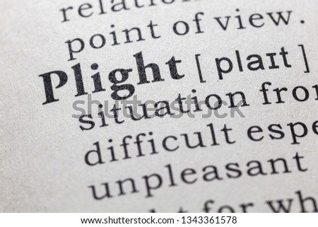 Fake Dictionary, Dictionary definition of the word plight. including key descriptive words.