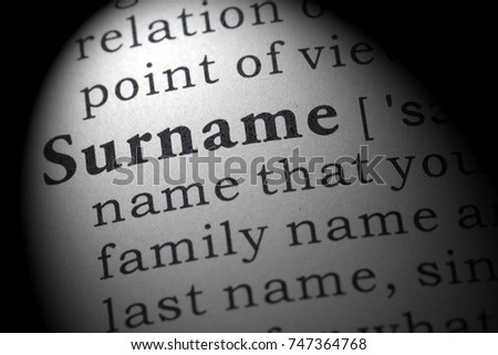 Fake Dictionary, Dictionary definition of the word surname. including key descriptive words.