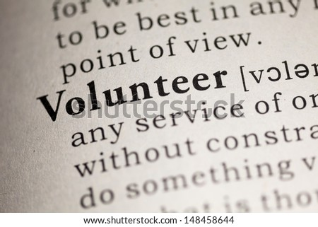 Fake Dictionary, Dictionary definition of the word Volunteer.