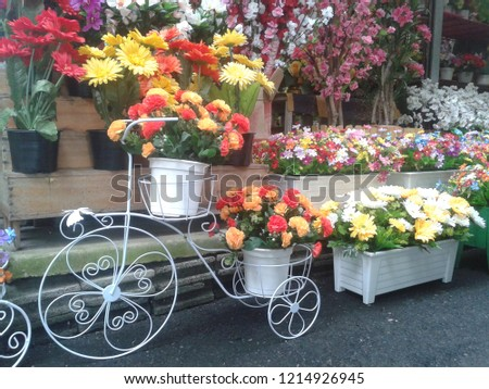 Fake flowers with decoration.