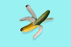 Fake fruit. Manipulation with banana and cucumber