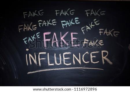 Fake influencer, misleading public profile with fake popularity