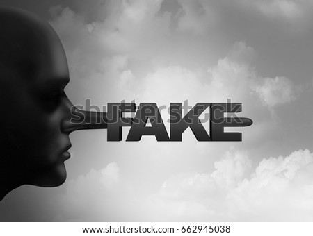 Fake media concept and leak or leaking news or hoax journalistic reporting as a person with a long liar nose shaped as text as false information with 3D illustration elements.