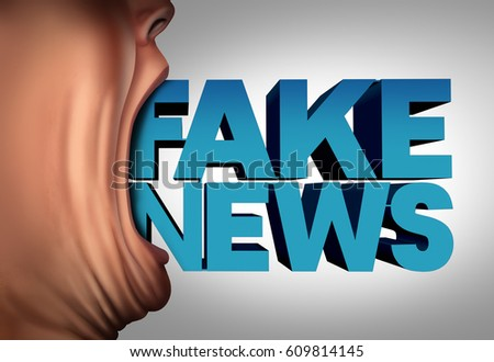 Fake news communication concept and hoax journalistic reporting as a person with 3D illustration elements. text coming out of an open mouth as false media reporting metaphor and deceptive Сток-фото ©