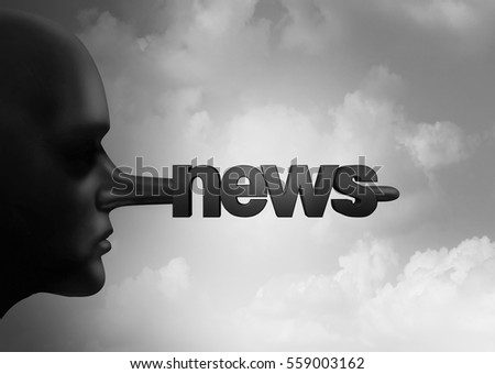 Fake news concept and hoax journalistic reporting as a person with a long liar nose shaped as text as false media reporting metaphor and deceptive disinformation with 3D illustration elements.