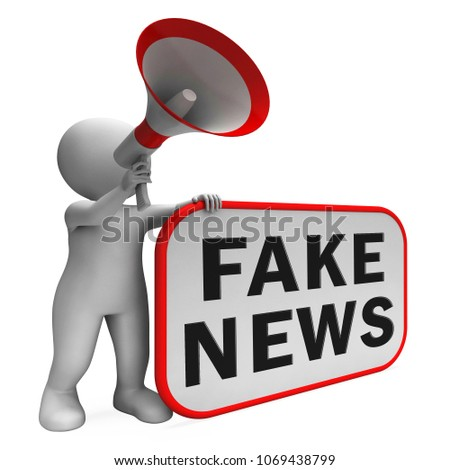 Fake News From Character Holding Megaphone 3d Illustration. A Misinformation Hoax And Misleading Deception From Dishonest Media.