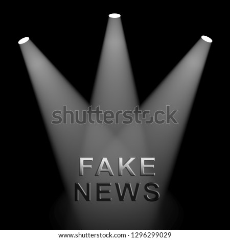 Fake News Icon Lights Means Misinformation Or Disinformation. Online Hoax Or Misleading Information  - 3d Illustration