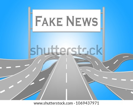 Fake News Misleading Roads Sign 3d Illustration. A Misinformation Hoax And Misleading Deception From Dishonest Media.