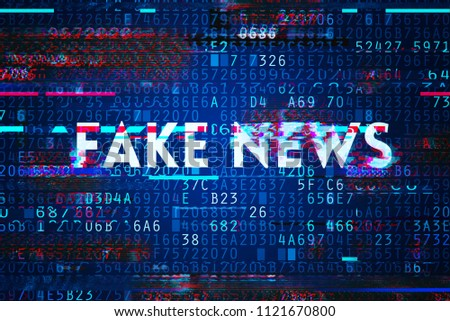 Fake news on internet in modern digital age, conceptual illustration with text overlaying hexadecimal encrypted computer code
