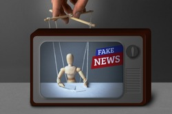 Fake News on TV. The correspondent as the doll controls the puppeteer. Lying information to trick people on TV.