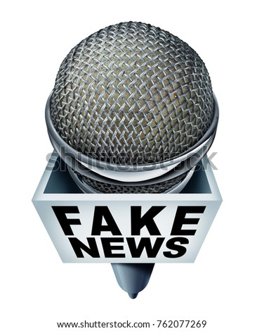 Fake news report concept and hoax journalistic reporting as a microphone with text as false media reporting metaphor and deceptive disinformation with 3D illustration elements.