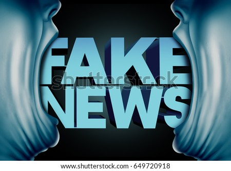 Fake news reporting concept and hoax journalistic reports from anonymous sources as people with open mouths with text as false media reporters and disinformation with 3D illustration elements.